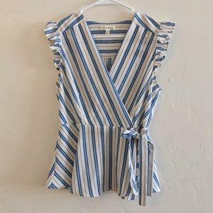 Monteau Blue & White Stripe Faux Wrap Peplum Top